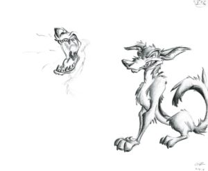 "tried to draw a dog similar to the style found in Don Bluth's ""All dogs go to Heaven"""